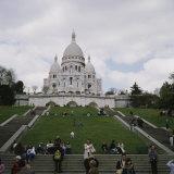 Group of People in Front of a Church  Basilique Du Sacre Coeur  Montmartre  Paris  France