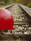 Close-up of a Balloon on a Railroad Track  Germany