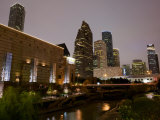 Buildings Lit Up at Dusk  Wortham Theater Center  Houston  Texas  USA