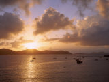 Us Virgin Islands  St John  East End  Coral Bay  Boats in the Sea During Sunrise