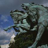 Low Angle View of the Statues of Horses  Capitol Building  Washington DC  USA