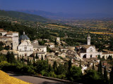 Assisi from the Rocca Maggiore  with the Cathedral of San Rufino and the Santa Chiara Church