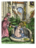 European Garden of About 1515  Represented as Bathsheba Bathing