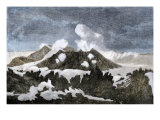 Mount Hekia Volcano with Steam Emitting from the Summit  Iceland  1800s