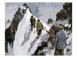 Mountaineers on a Couloir in the Alps  Circa 1890