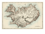 Map of Iceland, 1870s Giclée