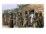 Native American Raid on French Colonial Settlement at Natchez  Mississippi  November  1729