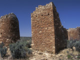 Round and Square Towers of Anasazi Ancestral Puebloan  Howenweep National Monument  Utah