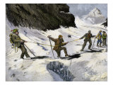 Breaking Through an Ice-Bridge in the Alps  Circa 1890