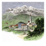 Village of Cortina Below Mount Tofana in the Dolomites  Italian Alps  1800s