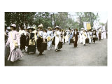 Suffragette Marchers Carrying Portable Speaker Rostrums  New York City  1912