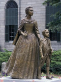 Statue of Abigail Adams with Son John Quincy Adams  Outside Adams Family's Church  Quincy  MA