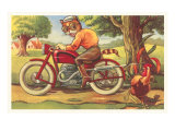 Cartoon Cat on Motorcycle