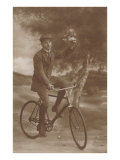 Photo of Man on Bicycle with Flowers