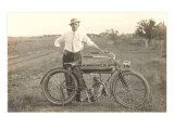 Black and White Photo of Man with Vintage Motorcycle