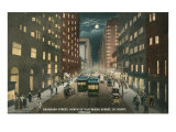 Dearborn Street at Night  Chicago  Illiniois