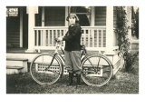 Black and White Photo of Young Girl with Bicycle