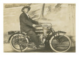 Black and White of Man on Motorcycle