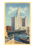 Wrigley Building on Chicago River  Chicago  Illinois