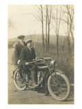 Black and White Photo of Two Men on Motorcycle