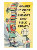 Cartoon of Man with Stack of Books for Chicago Library  Chicago  Illinois