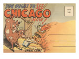 Cartoon of O'Leary's Cow  Chicago  Illinois