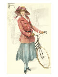 Drawing of Woman with Bicycle