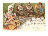 Clown Playing Guitar with Monkey Band