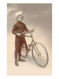 Young Boy in Chef's Hat with Bicycle