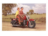 Couple on Red Motorcycle
