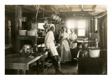 Black and White Photo of Old West Restaurant Kitchen