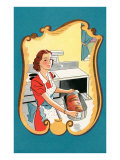 Drawing of Woman Putting Roast in Oven