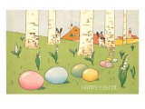 Easter Bunnies and Eggs Amid Birch Trees