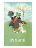 Happy Spring  Dressed Frog and Dog