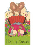 Happy Easter  Cartoon Rabbit with Accordion