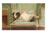 Victorian Girl Lying on St Bernard on Couch