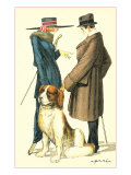 Couple on Street with St Bernard