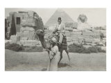 Man in Fez on Camel  Pyramid and Sphinx