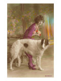 Woman in Purple with Borzoi