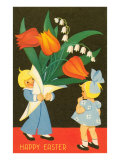 Children with Large Bouquet