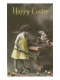 Happy Easter  Victorian Girl with Hen on Table