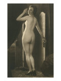 Coy Nude at Wardrobe Door