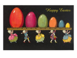 Children in Colonial Costumes Carrying Tray of Easter Eggs