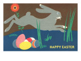 Easter Bunny Loping over Eggs