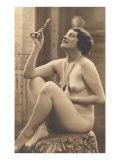 Nude Woman in Pearls with Small Mirror