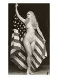 Nude Blonde with US Flag