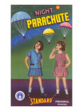 Girls with Night Parachute Fireworks