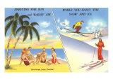 Palm Trees and Beach Versus Snow Skiing