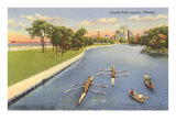 Sculls on Lincoln Park Lagoon  Chicago  Illinois