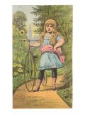 Girl with Penny-Farthing  Illustration